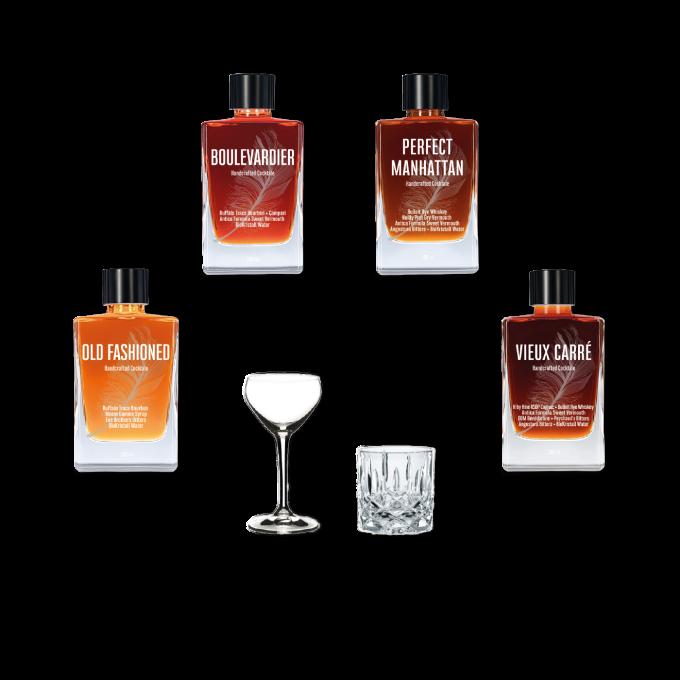 Whiskey Connaisseur • Bottled Cocktails • Boulevardier Old Fashioned Perfect Manhattan Vieux Carré • Bourbon Whiskey Cognac